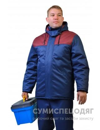 "Куртка утепленная ""Зима"" т/синяя + бордо"