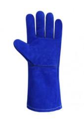 Перчатки (краги) спилковые с подкладкой синие, 35 см (синие)