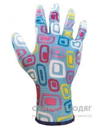 Перчатки полиэстровые, цветное нитриловое покрытие