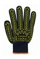 """Перчатки трикотажные с ПВХ точкой арт. 5611 """"Корона"""" (платировка, чёрные)"""