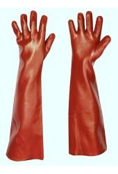 Перчатки (краги) защитные, красное покрытие ПВХ (45 см.)