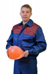 """Костюм """"Стандарт-3"""" (брюки + куртка), т/синий + бордо, грета"""