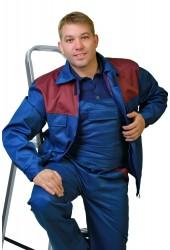 "Костюм ""Стандарт-3"" (полукомбинезон + куртка), т/синий + бордо"