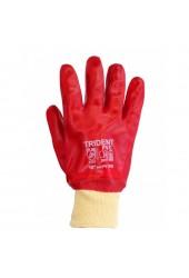 Перчатки защитные, красное покрытие ПВХ (вязанный манжет)