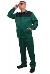 """Костюм """"Стандарт-2"""" (брюки + куртка), зеленый+черный, грета"""